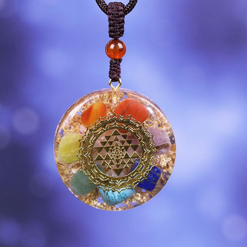 Orgonite kolye Chakra Reiki Şifa kolye Yoga Enerji Triko Zincir kolye İçin Kadın Erkek Takı 201104