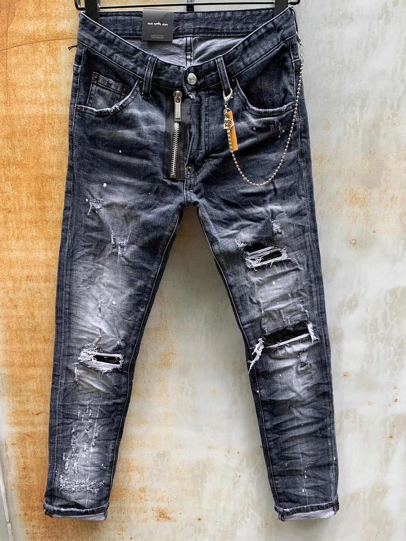Modischen europäischen und amerikanischen Männer Casual Jeans im Jahr 2020, hochwertige gewaschen, von Hand getragen wird, fest und riss Motorrad Jeans LT010-1
