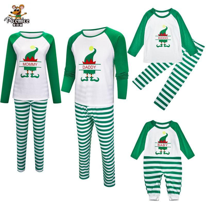 Семья смотрит мужчины женщин ребенок ребенок пижама рождественские семейные наряды одежды одежда детская комбинезон папа мама малыша семья подходит одежда LJ201109