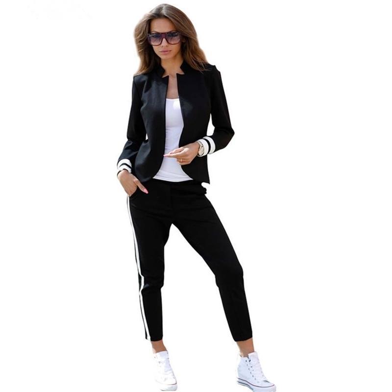 MVGIRLRU женская 2-х частей набор комплект с длинным рукавом стоять воротник без бутырей черный и белый трексуиит Y201128