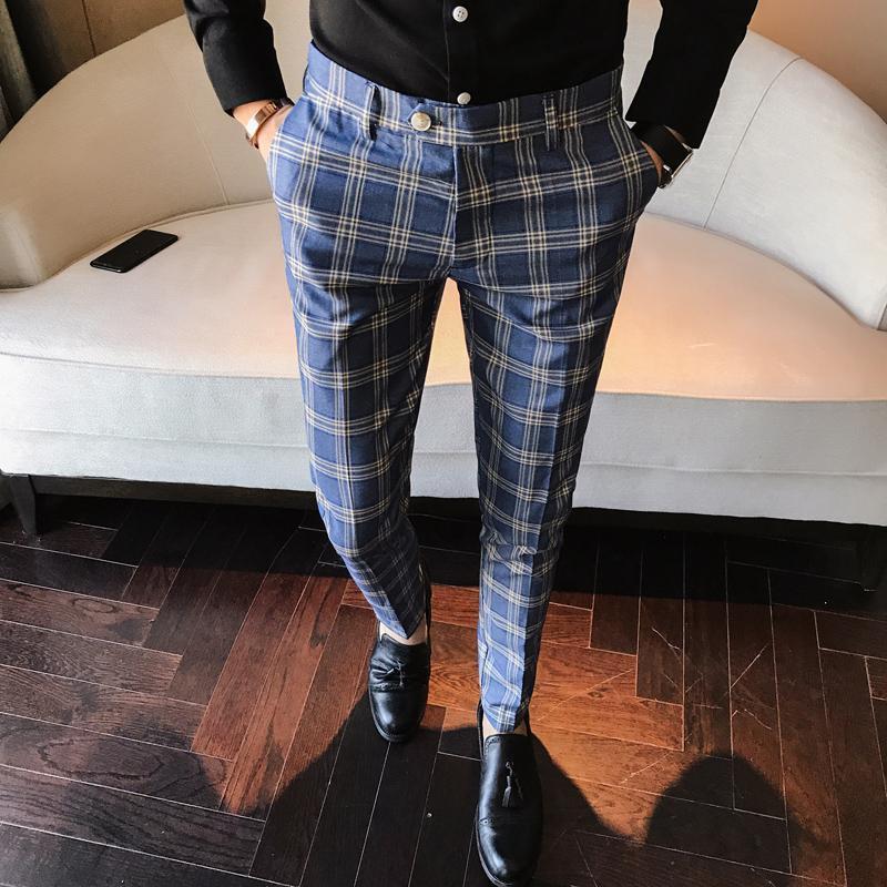 Erkekler Elbise Pantolon Ekose Iş Rahat Slim Fit Ayak Bileği Uzunluk Pantalon Bir Careau Homme Klasik Bağbozumu Kontrol Takım Pantolon Düğün