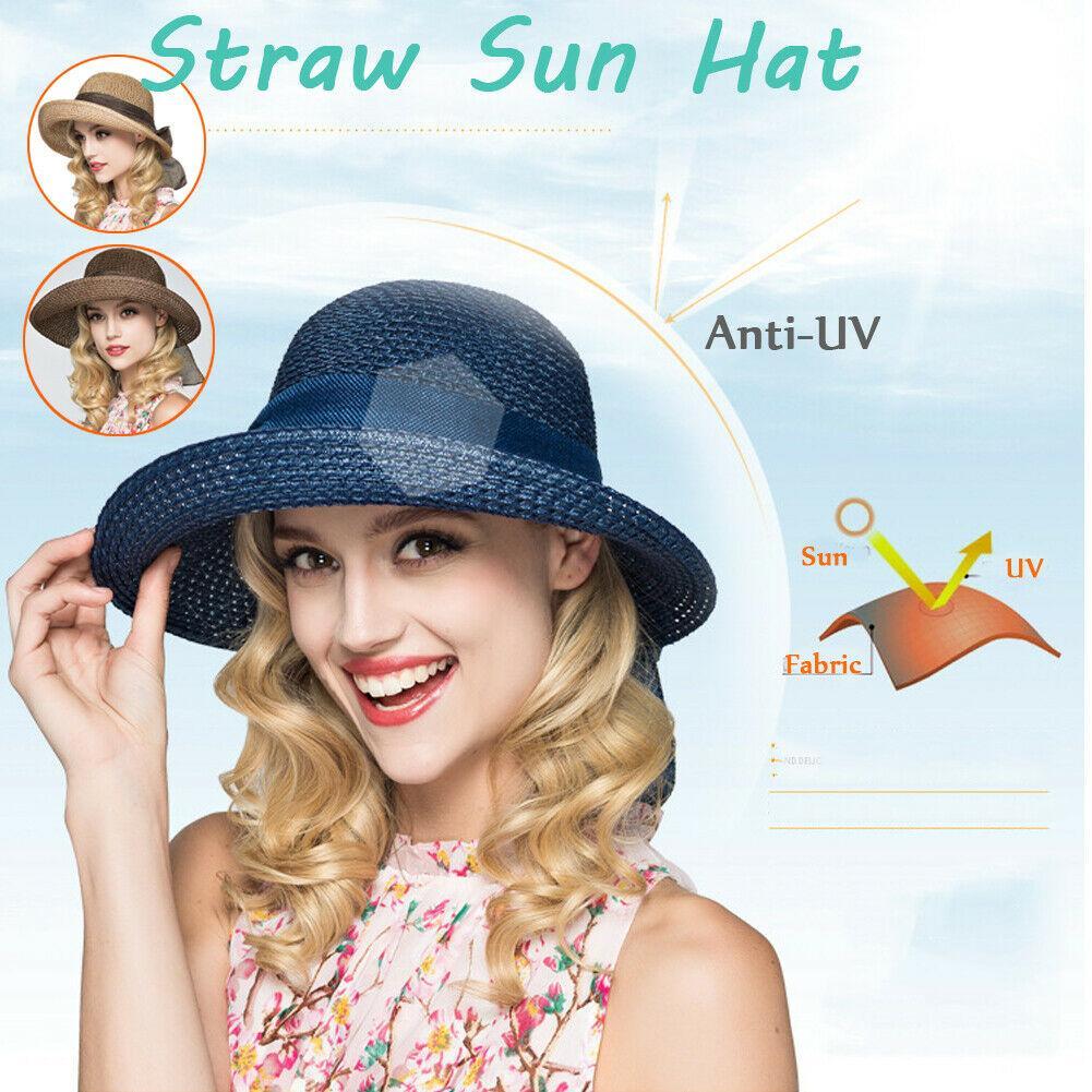 Mulheres Lady Verão chapéu de palha Sun Proteção Big Dobre Cap Praia Verão Beachwear Sun Hat Casual