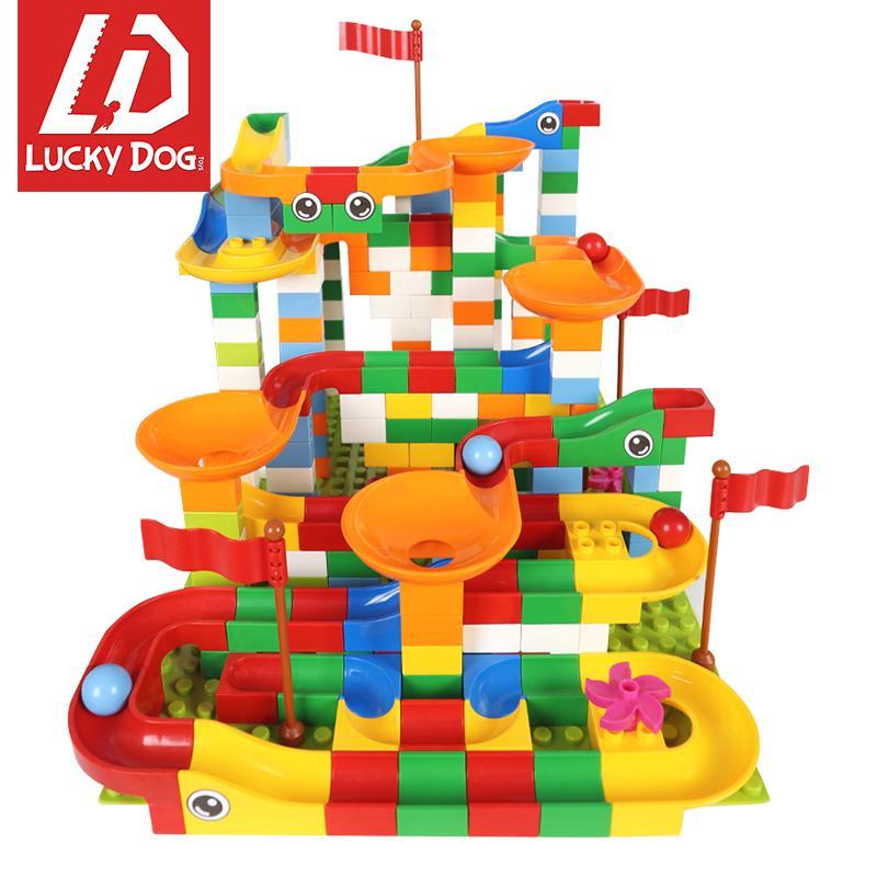 296 piezas de mármol Carrera bloques iniciales Maze bolas de construcción de vías hubelino Ladrillos aclara compatibles con Duploed 1008