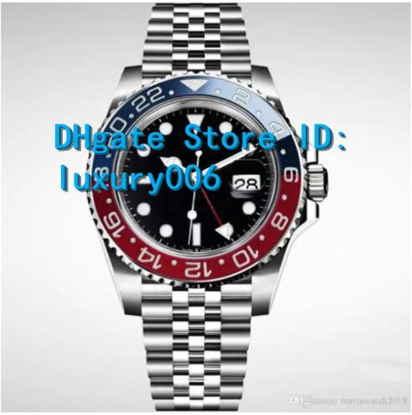 Nuevo reloj negro de zafiro reloj de pulsera a prueba de agua Bisel azul rojo 126710 126710BLRO 2813 Relojes de pulsera mecánicos automáticos para hombres 40mm