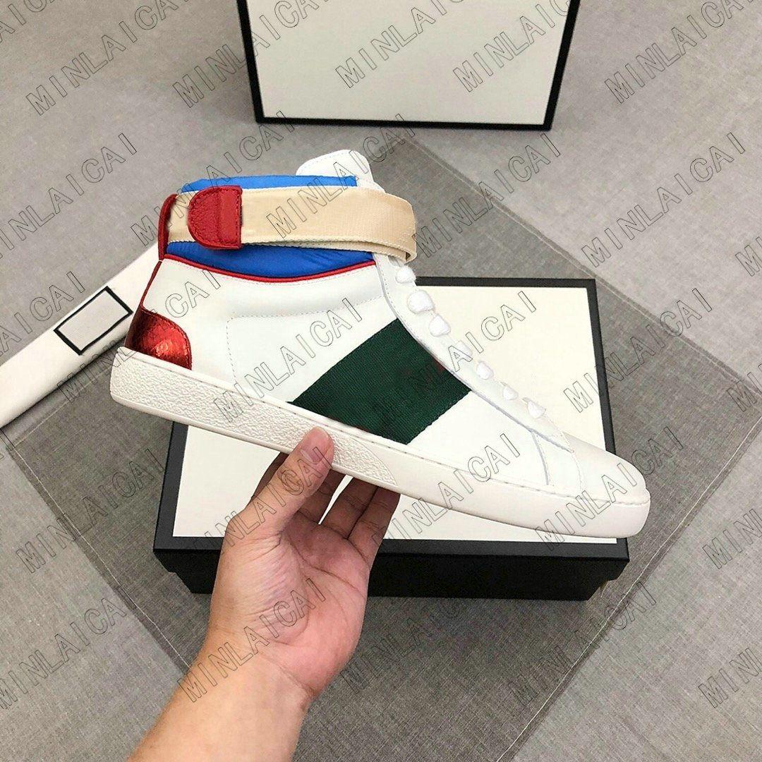 ACE High-Top Herren Leder bestickte Freizeitschuhe Grün Rot Streifen Italien Biene Tiger Black Luxurys Designer Sneakers Trainer Schwarz Sneakers