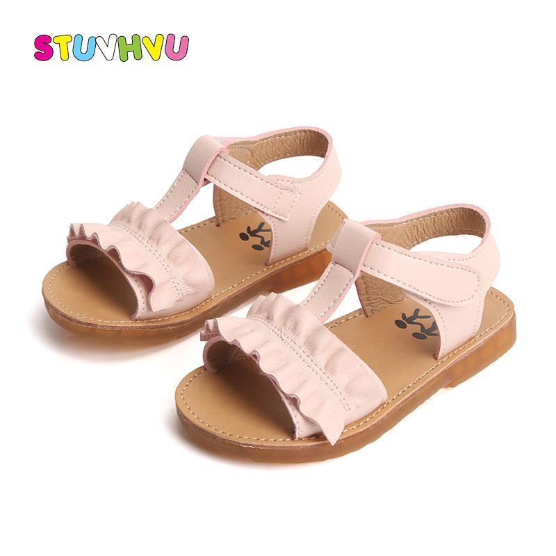 Bebek Kız Sandalet Yaz Çocuk Casual Kaymaz Deri Dantel Kız Prenses Ayakkabı Çocuk Plaj Sandalet Bebek Ayakkabı Ayakkabı