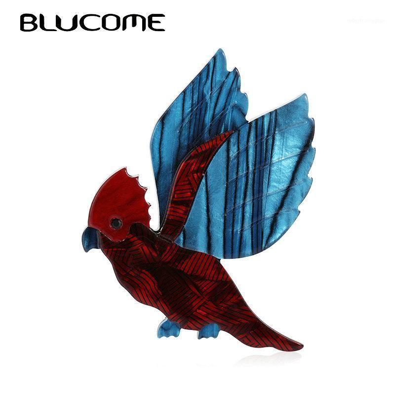 Pins, Broche Blucome Forma de pássaro de papagaio de acrílico feitos à mão para mulheres de alta qualidade Animais Brooch Pin Sweater Saco Suit Acessórios1