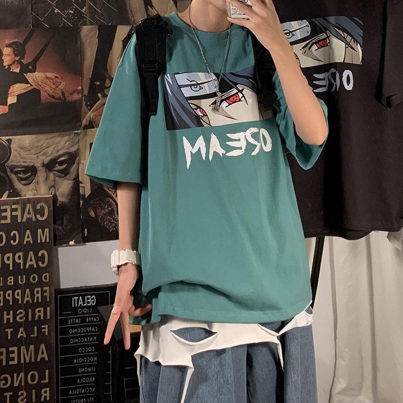 ناروتو الجمالية الهيب هوب التي شيرت رجل / إمرأة ساسوكي كرتونية مضحكة شيرت أزياء الشارع الشهير T قميص اليابانية أنيمي الأعلى تيز ذكر