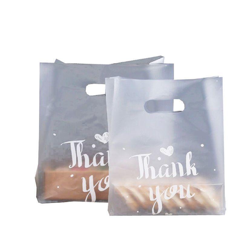 50pcs البلاستيك شكرا لك حزمة الخبز الحلو كوكي حقيبة الحلوى الزفاف الإحسان الوجبات الجاهزة تغليف الغذاء الشفاف 201225