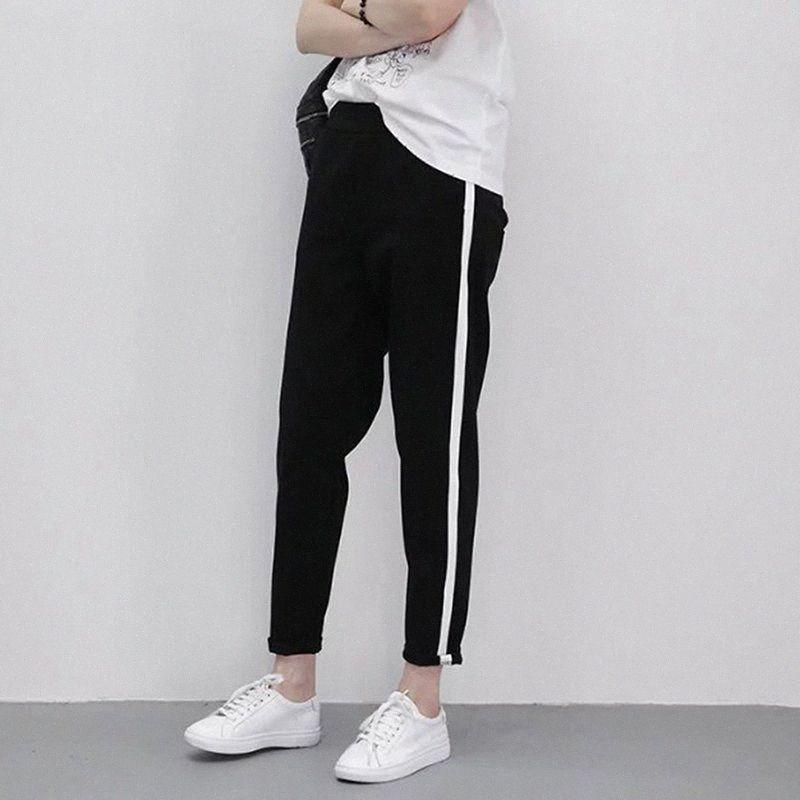 Pantalones corrientes nuevos primavera señoras se divierte los pantalones elásticos de la cintura al aire libre unisex estudiantes jogging pantalones de entrenamiento # JH45