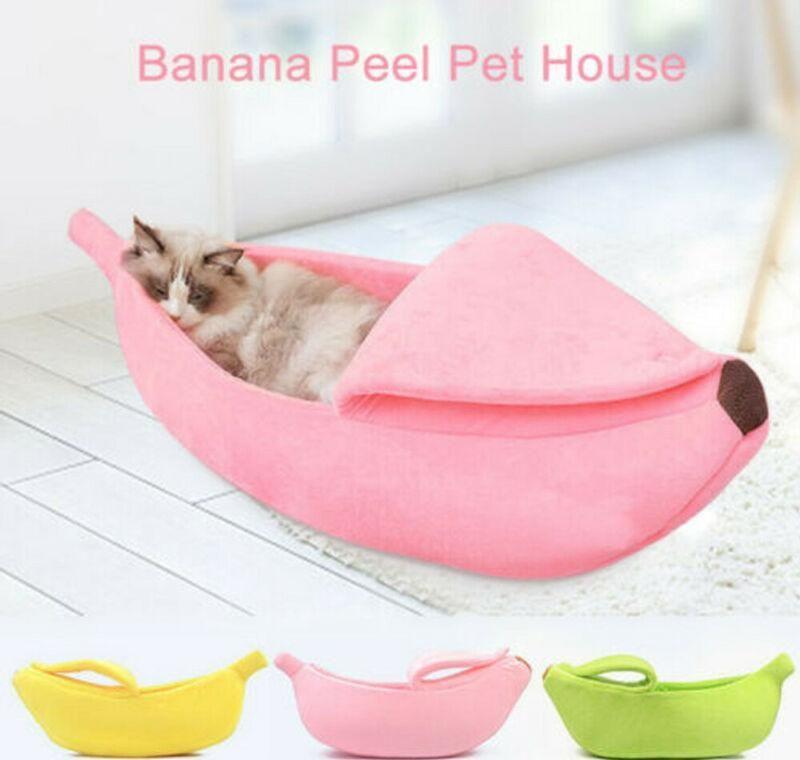 Pelúcia casca forma canil quente fofo fofo lã de lã casa banana cama quente ninho ninho cama animal de estimação cão pet cão sqcuh sports2010