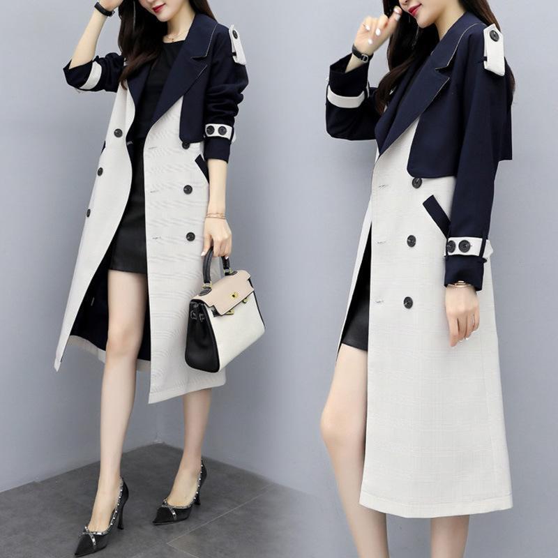 Casaco de trincheira de mulheres longa seção sobre o joelho 2020 outono carregado feminino tops cor combinando de mangas compridas trincheira casaco mulheres
