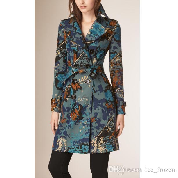 Di alta qualità Autunno Inghilterra Fashion Floral Trench Doppio Petto donne Classic giacca a vento commerciali Outerwear Londra Trincee