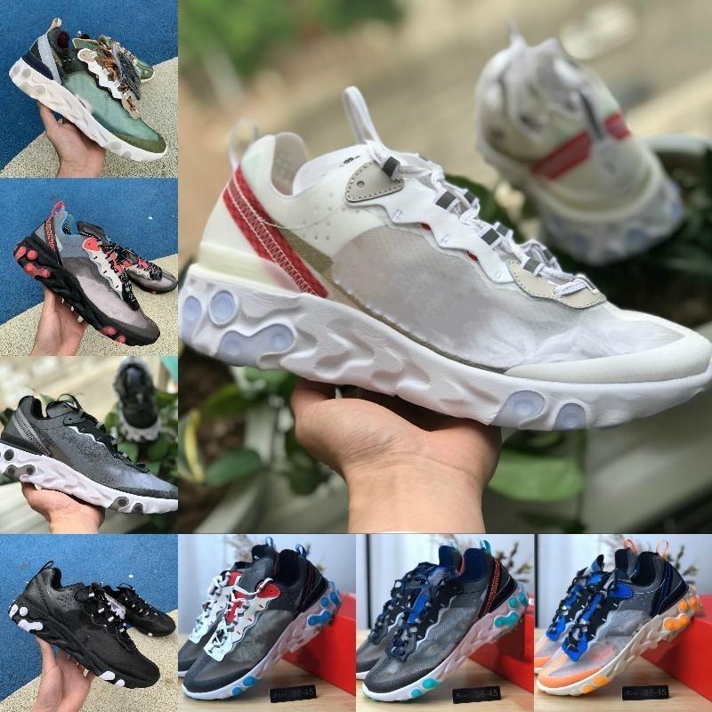 2020 رائدة عنصر 87 حزمة أبيض أسود أحذية رياضية ماركة الرجال النساء مدرب مصمم الأحذية zapatos الأحذية الرياضية