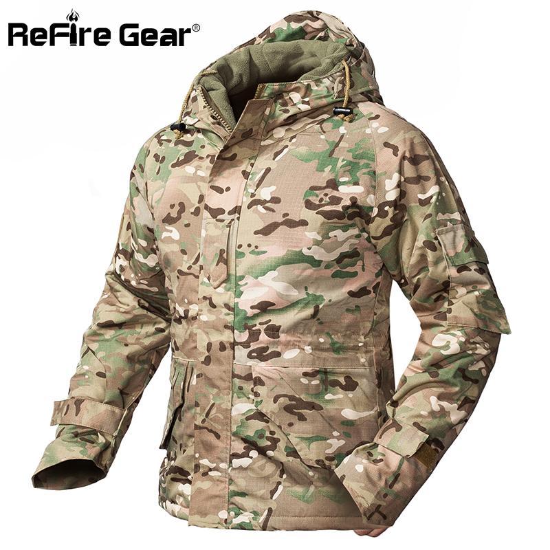Engrenagem inverno camuflagem jaqueta tática homens impermeáveis mornos espessos espessos lã lã windbreaker capuz o casaco militar