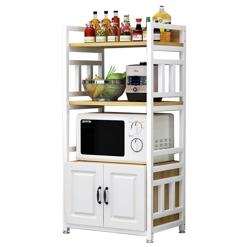 Ganchos Trilhos pintados de aço de prateleira de aço piso de piso multi-camada microondas forno armário de armazenamento de armário limpo