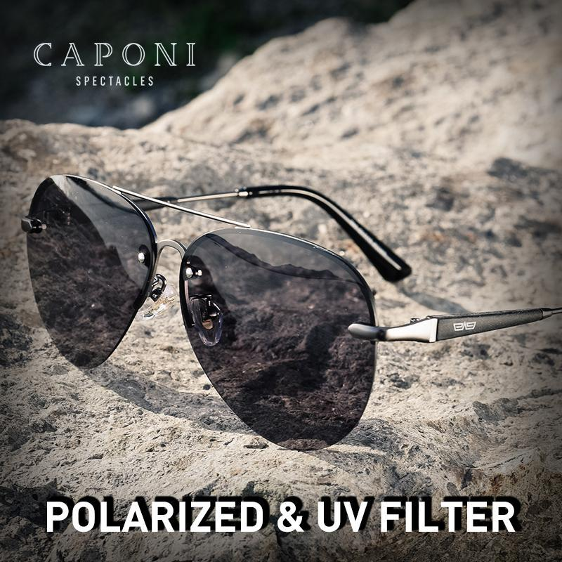 Design CAPONI Polarized 2021 Sunglasses Brand Trend New Sun Men Glasses Frameless Avation Shades Male Eyewear Accessories CP6179 Ogxap