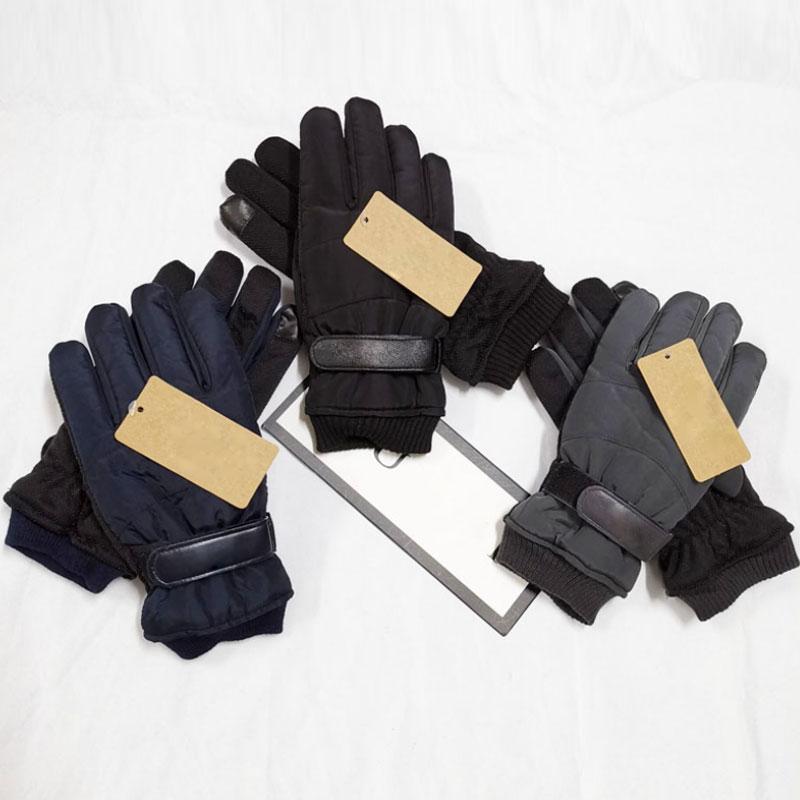 Gants de ski de doigts d'hiver Hommes Gants à écran tactile imperméable Épaissir Gants de ski Couleur solide Couleur chaude DHL expédition
