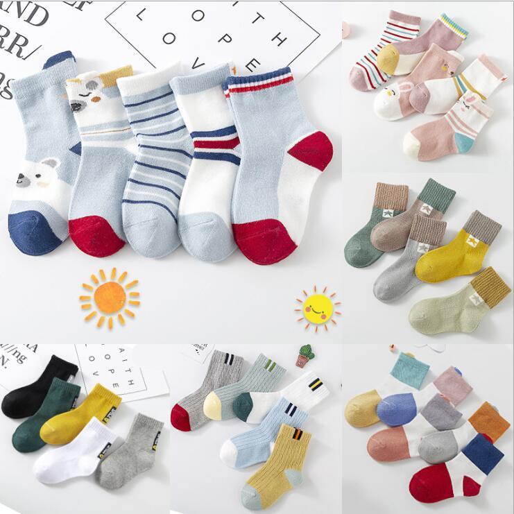 Высококачественные детские носки среднего толщины Унисекс детский сплошной цветные удобные хлопковые носки, изысканная упаковка BWC3264