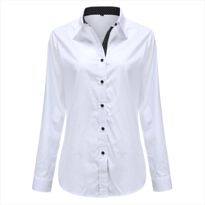 Dioufond женщины с длинным рукавом рубашка мода одежда белый черный тонкий пэчворк точка хлопчатобумажная блузка офис дамы плюс размер формальный
