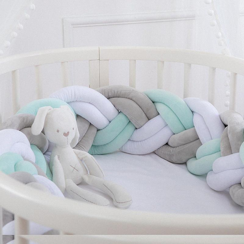İskandinav Bebek Yatak Tampon Çocuk Yatak Beşik Tamponlar Bebek Düğümlü Örgü Koruyucu Bebek Uyku Seti Cuna Para Dekorasyon Odası 10wS #