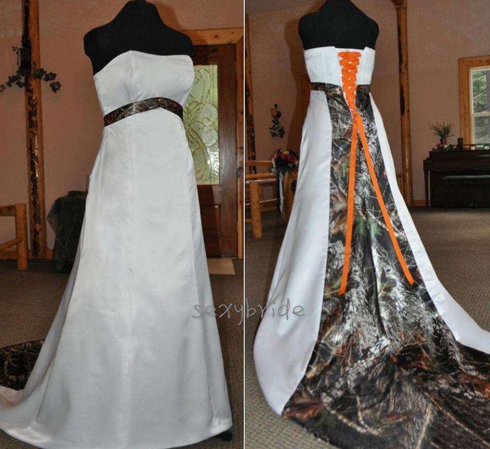 Rustic Stapless Satin Wedding Dresses with Camo Ideas Sleeveless Plus Size Corset Bridal Gown with Orange Tie A Line Country Wedding Dress