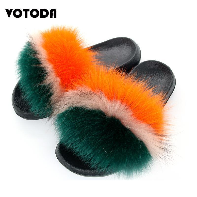Fluffy Fourrure Pantoufles Femmes Fox Fourrure Diapositives Plat Fourry Femme Mignonne Plush House Chaussures Mode Marque Designer Fox Sandales de cheveux F0123