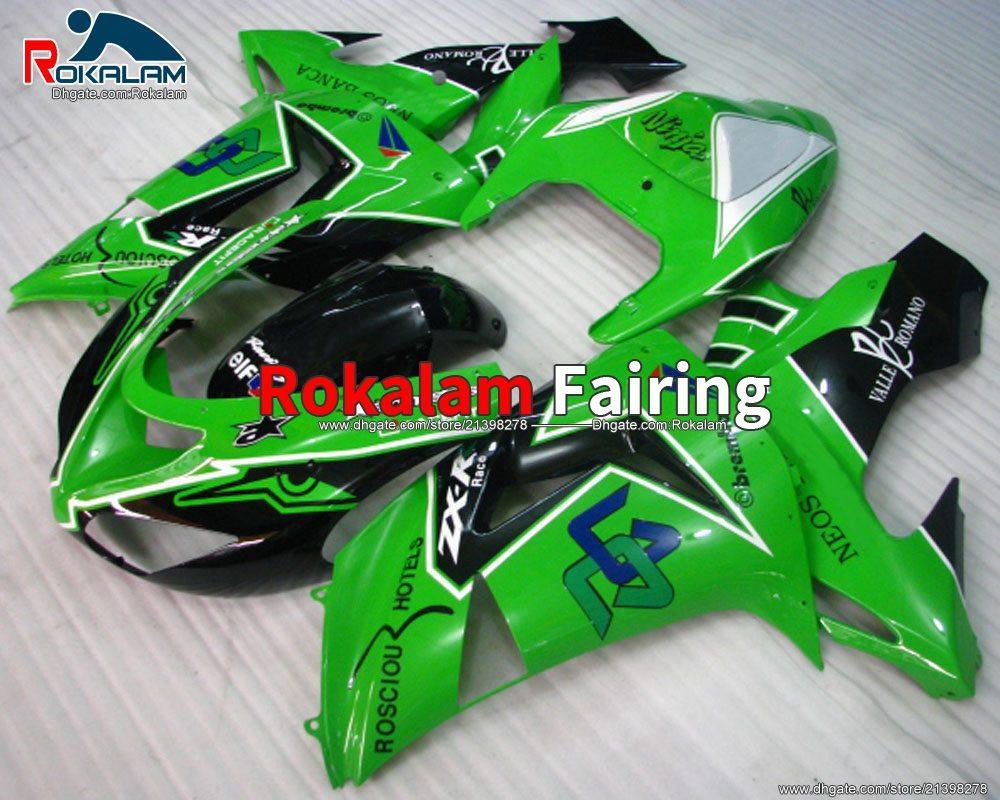 Зеленое обтекательство для Kawasaki Ninja ZX10R ZX 10R SPORTBIKE Обтекивающие обтекатели 2006 2007 Комплект обтекателя ABS (литье под давлением)