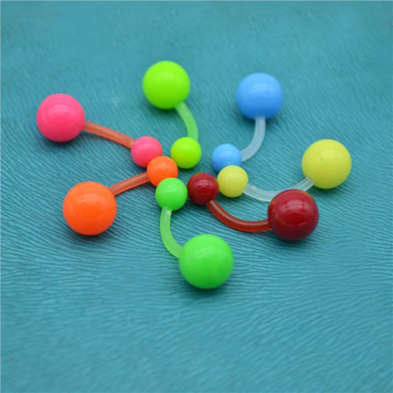 BELLY Naval Bar Rings Bioflex Bioplast Coloured Flexible Screw on Balls Fashion Body Piercing Jewelry Wholesale 14G UV Acrylic
