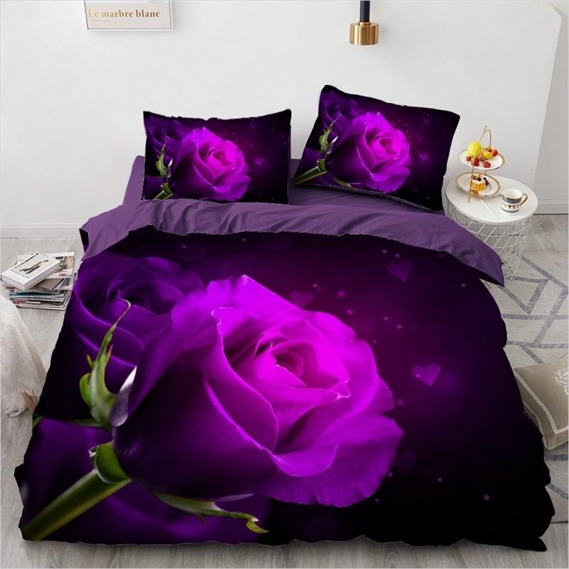 Conjunto de ropa de cama 3D Individual Doble Doble Tamaño 3 unids Funda de edredón Edredón / Edredón Funda de almohada Flowers Home Textile 201211