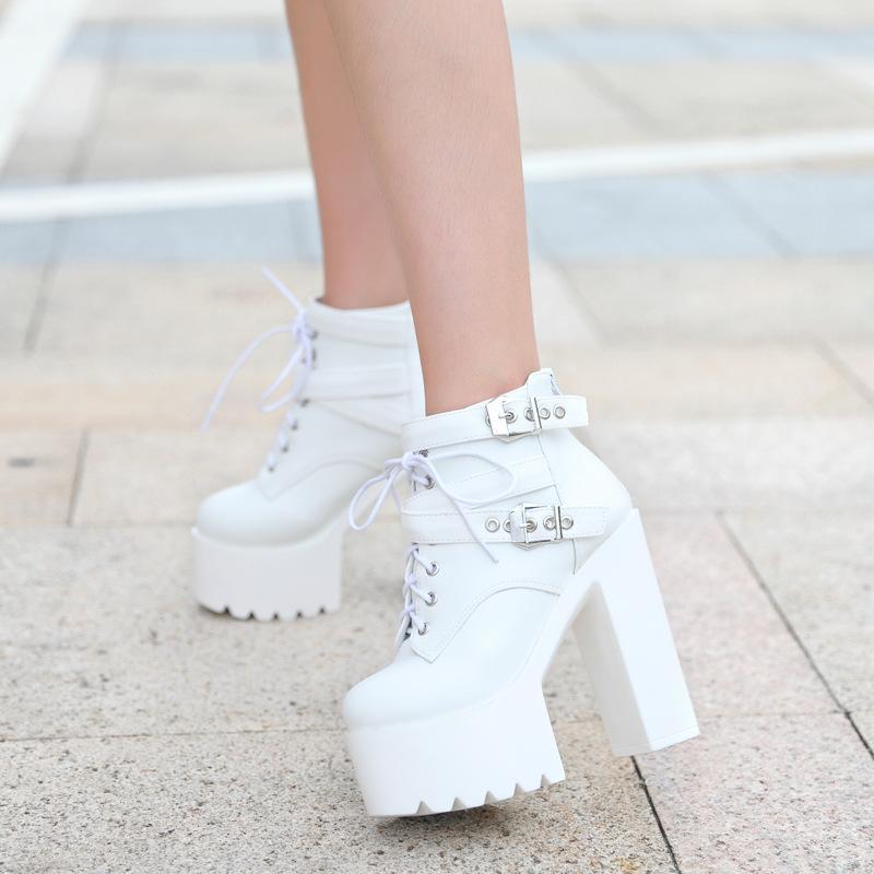 PREO BRANCO Moda Invierno Súper grueso botas de fondo sexy botas de tacón alto para mujer clubes nocturnos cálidos bota gruesa zyw-659-1