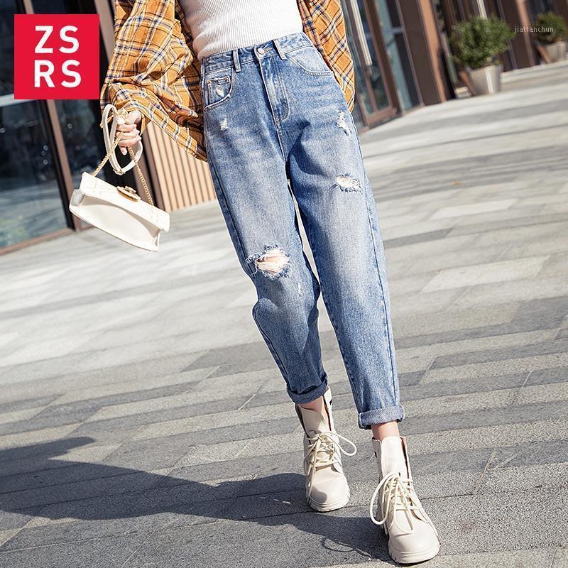 ZSRS 2020 Otoño Nuevo Mamá Jeans Harem Jeans Casual Denim Pantalones Boyfriends Pantalones Romificado Vintage Ladies 4XL1