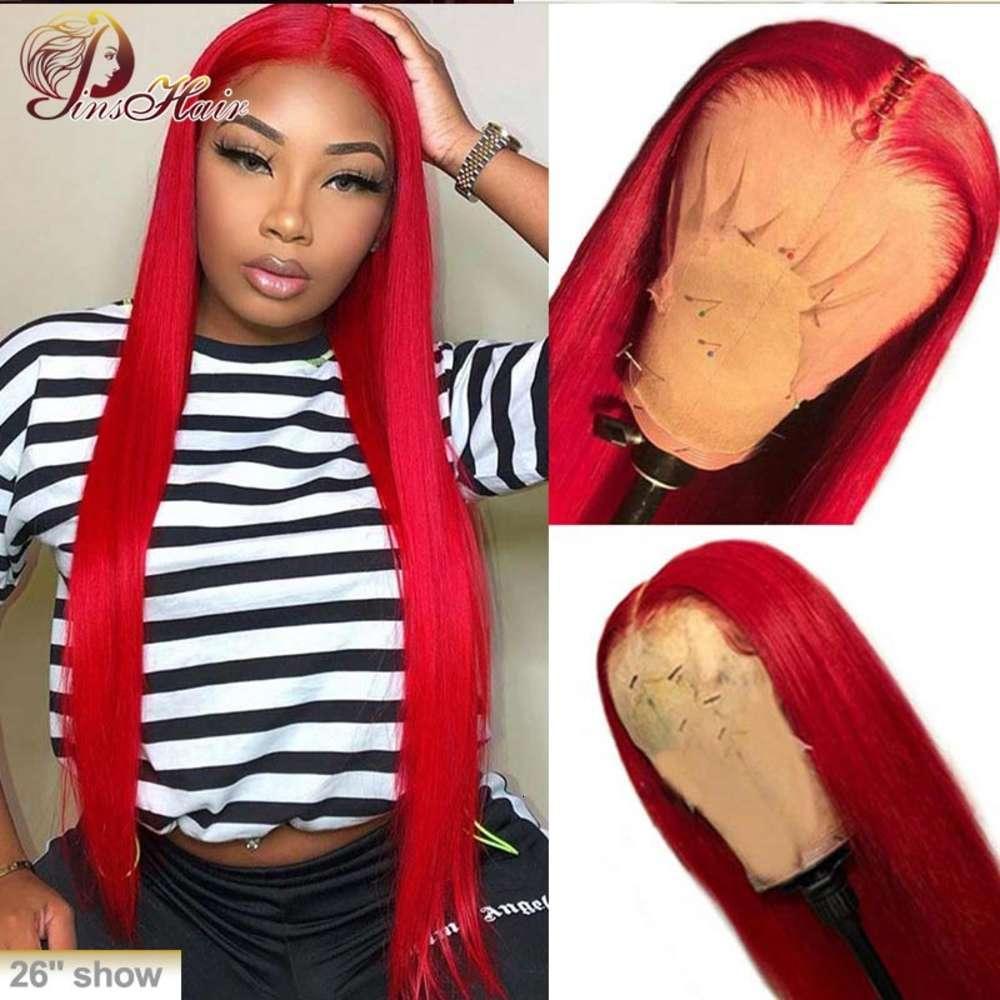 13x1 coloreado peluca roja de encaje recto pelucas frontales humano 150% pre arrolladas con pila de bebé Remy Peluquería