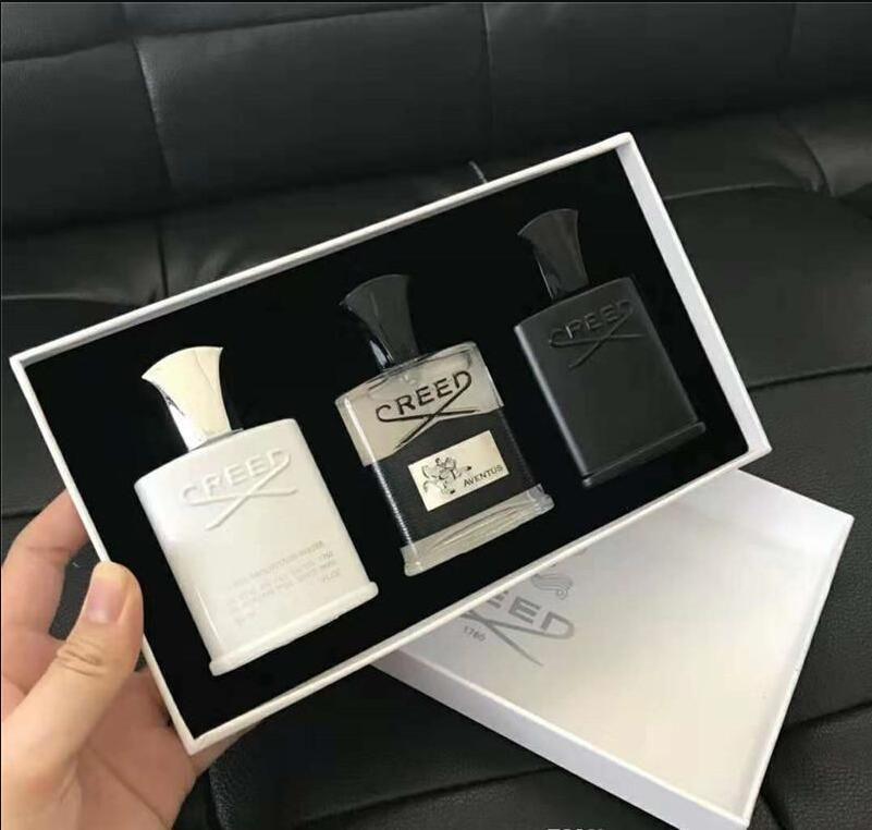 Perfume de credo de alta calidad 3 PCS Conjuntos Aventus Tweed Silver Mountain Water Fragrance Tiempo de Duración Largo Colonia 30ml * 3