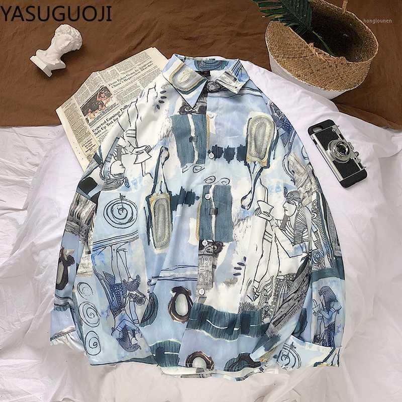Yasuguoji 2020 novas chegadas camisa de verão homens moda graffiti impresso camisas casuais loose longa manga havaiana homens camiseta1