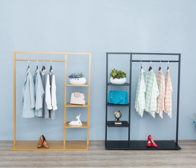 Iron Simple clothing store clothing rack clothes rack floor type shelf bag display shelf display shelf