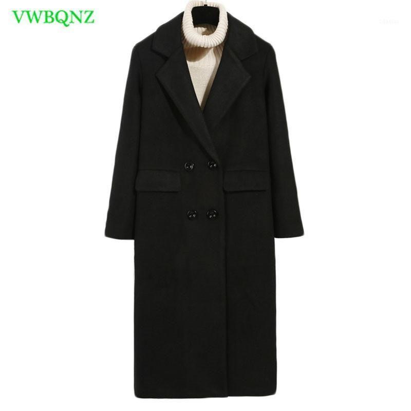 Donne di modo invernale allentato nuovo cappotto manica lunga medio lungo lungo giacca di lana di alta qualità femmina addensa calda cappotto di lana nero A7181