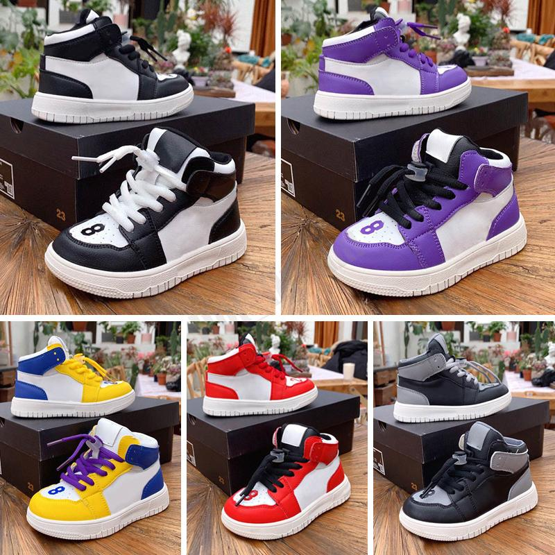 High Quality 1 Kids Basketball Shoes Toddler Infant Boys Girls Sports Sneakers Bred White Black Maroon Kid Trainers With Box