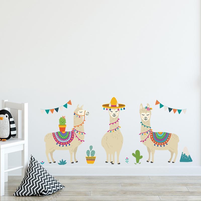 1 Pc 3 Stiller Karikatür Lama Hayvanlar Alpacas Duvar Etiketler Koyunları Çocuk Odaları Kreş Duvar Dekoru Ev Dekorasyonu DIY Afiş için