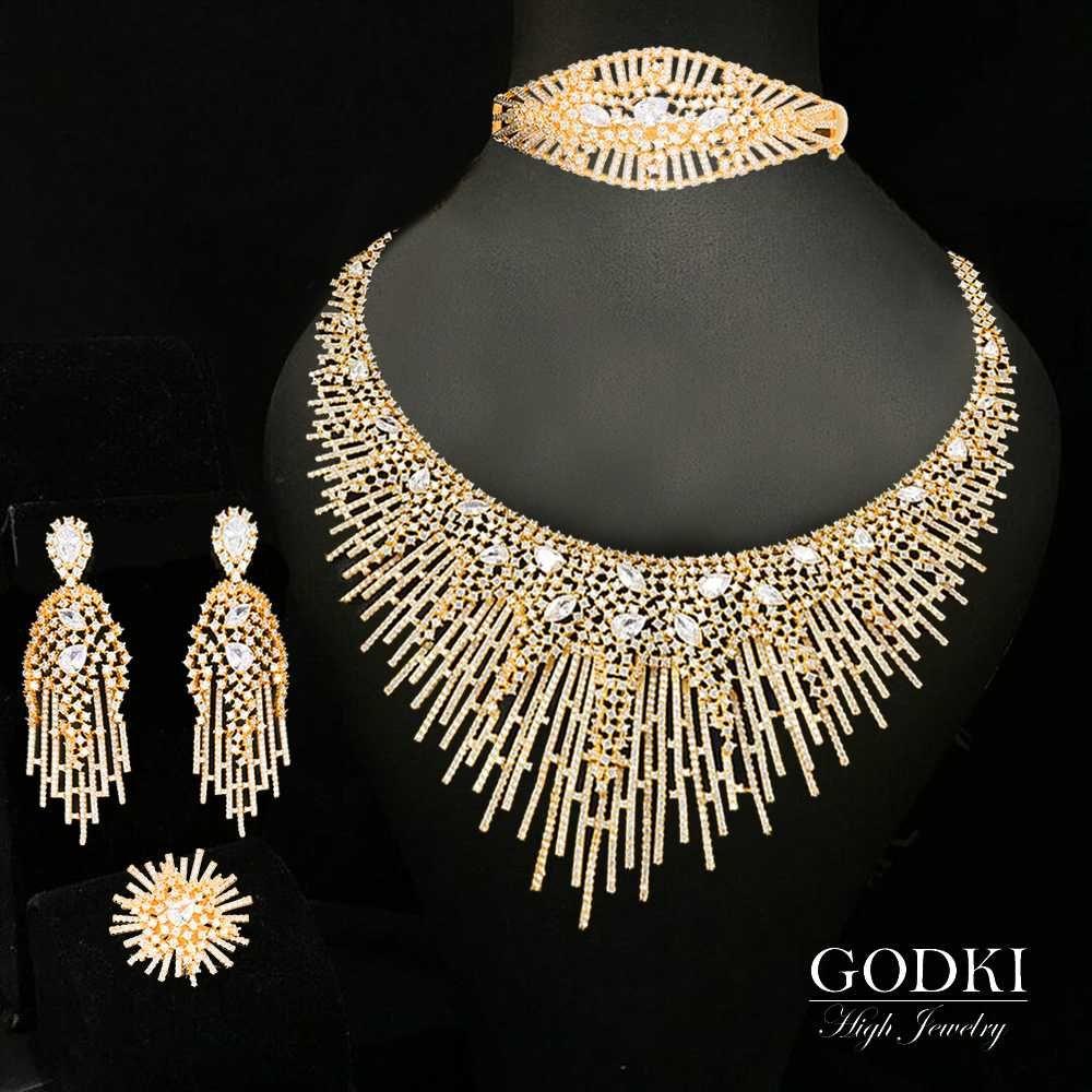 GODKI 4шт Luxury Spike Ювелирные наборы African для женщин Свадебные Цирконий Lariat Neckalce Комплекты Дубай Свадебные украшения 2020