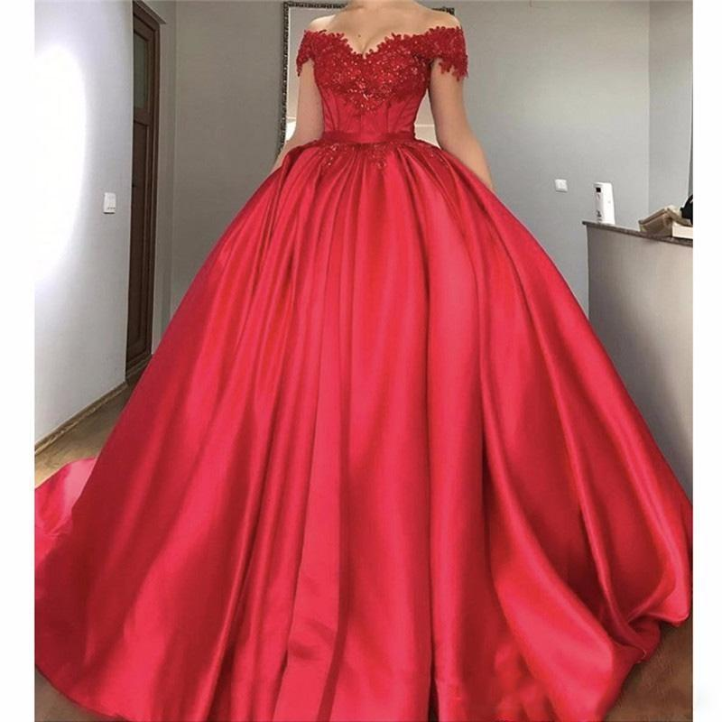 New Red Quinceanera Ball Gown Dresses Off Shoulder Lace Appliques Crystal Beaded Sweet 16 Sweep Train Plus Size Party Prom Evening Gown