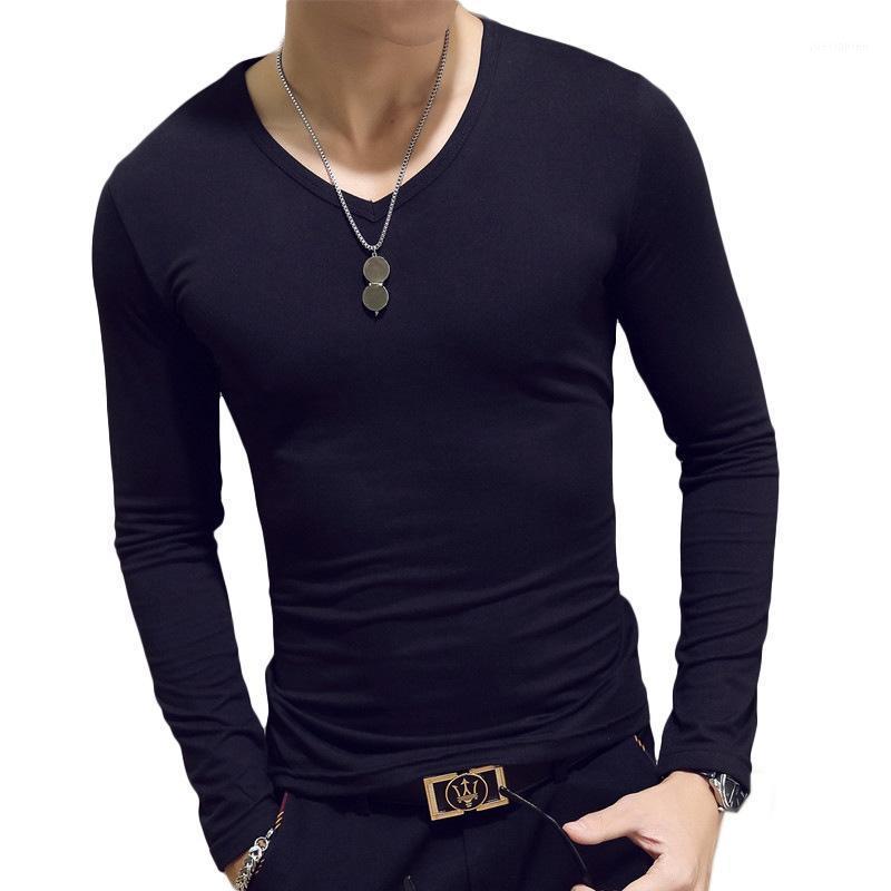 2019 весна осенью новая мужская футболка тонкий с длинным рукавом V-образным вырезом сплошной цвет высокой эластичности дна дикие удобные мужчины футболка1