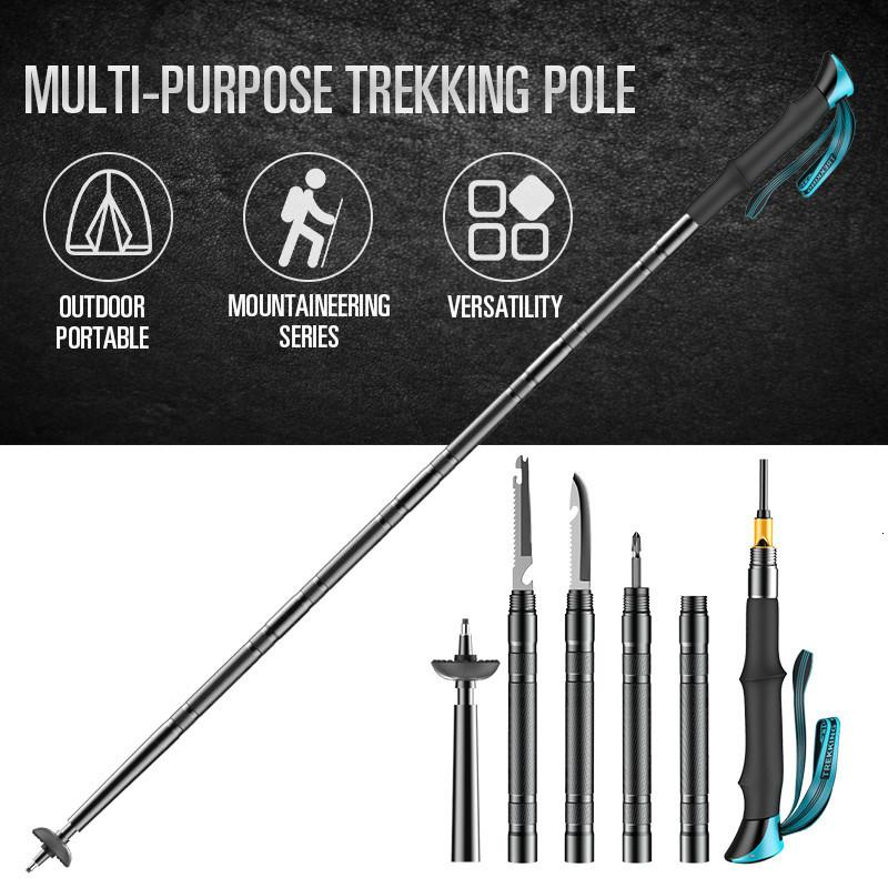 Walking da alpinismo Outdoor Tactical Defense Stick campeggio multifunzionale lega di alluminio regolabile Palo Trekking OZI1