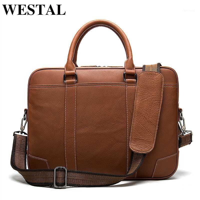 Bolsa de Westal Maletín de hombres de cuero genuino bolsa de laptop para hombres bolsos de oficina de cuero para hombres Bolso de negocios de documentos porte