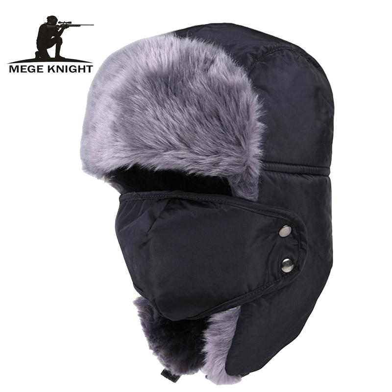 MeGe Knight Marque Chapeaux de bombardiers russes Hommes chauds Hommes et Femmes Unisexe Casquette Unisexe Casquette avec masque épais camocap oreille d'équitation Y200110