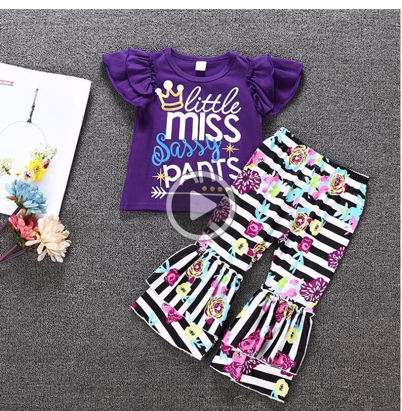 2adet yürümeye başlayan F9RS çocuklar 2 kat küçük bayan şımarık pantolon boutiuque çocuk kız kıyafetler B11 manşon mor set karıştırdı