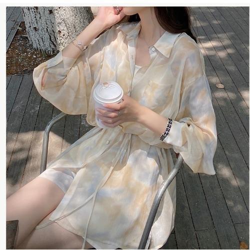 MIKASTUDIO Xiaoyu conjunto molho das mulheres à prova de sol de mangas compridas calção largo-pé Calções Camisa de duas peças set Internet Red summe estilo estrangeira
