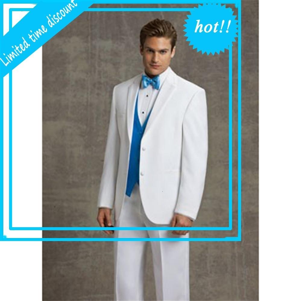 Пользовательские жениха мужские смокинг подружки невесты белые свадебные платья Diner вечернее костюмы лучшие мужчины невеста десна (Jas Brok Tie + жилет)