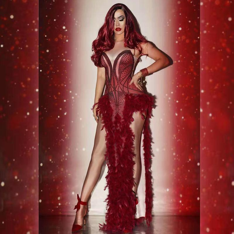 Christmas Red Crystal Feather Evening Long Dress Shawl Women Sexy Party Prom Rhinestone Dress Jazz Singer Dancer Stage Dress 0930