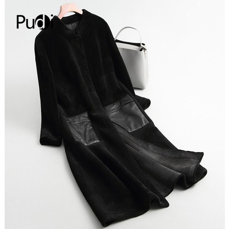 Pudi Frauen Winter Echt Wolle Pelzmantel Jacke über Größe Parka Dame Art und Weise echte Pelzmäntel outwear A68290